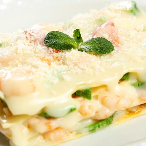 Lasagne gamberi e zucchine Atmospherae Catering Bologna