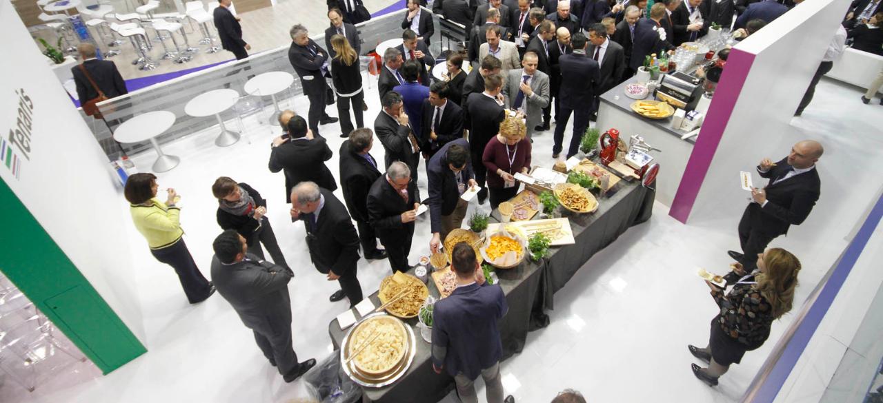 immagine del buffet organizzato dal nostro staff per lo stand Tenaris in fiera a Dusseldorf